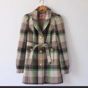 NEW 100% Wool Juicy Culture Coat Jacket Tartan